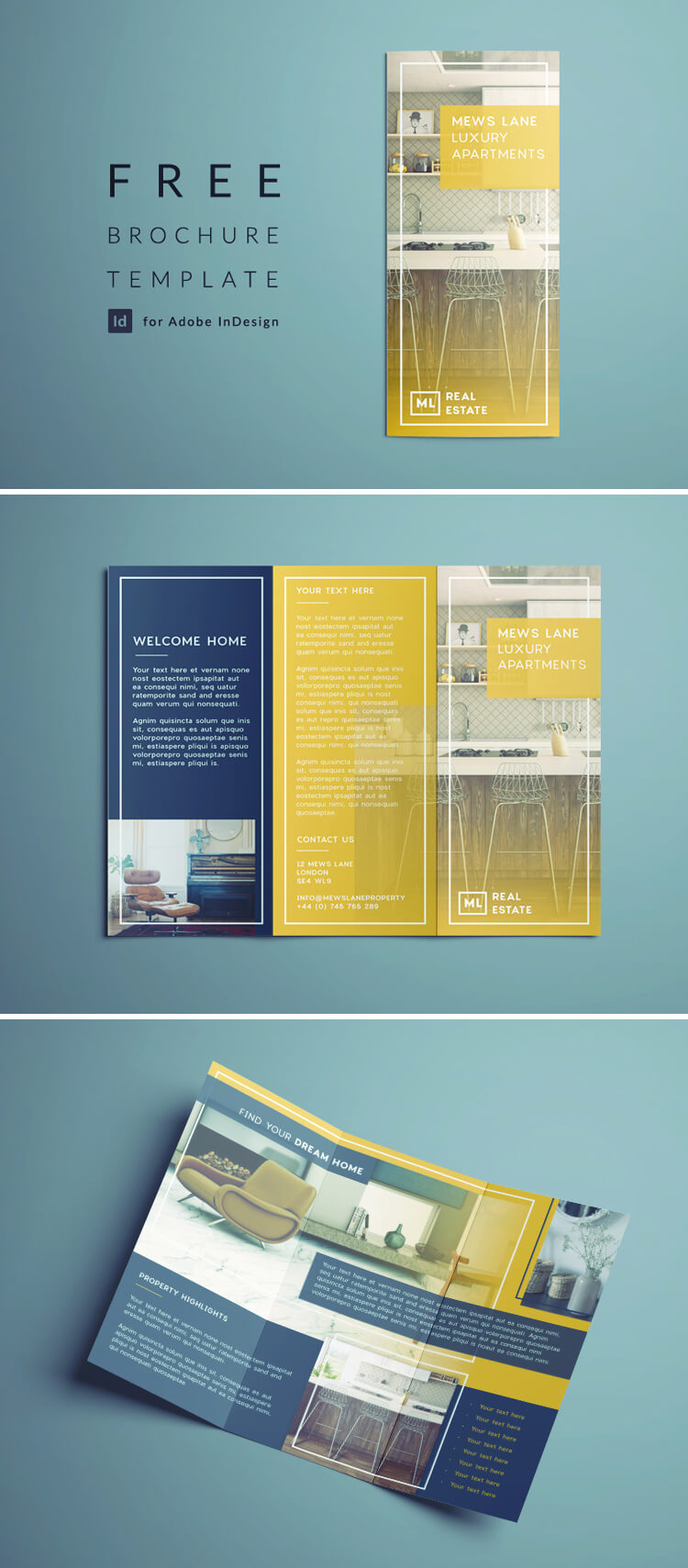 real estate flyer free indesign template outside view of tri fold real estate flyer