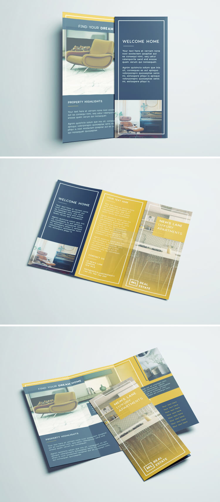 Tri Fold Brochure Free InDesign Template - Real estate brochure templates free