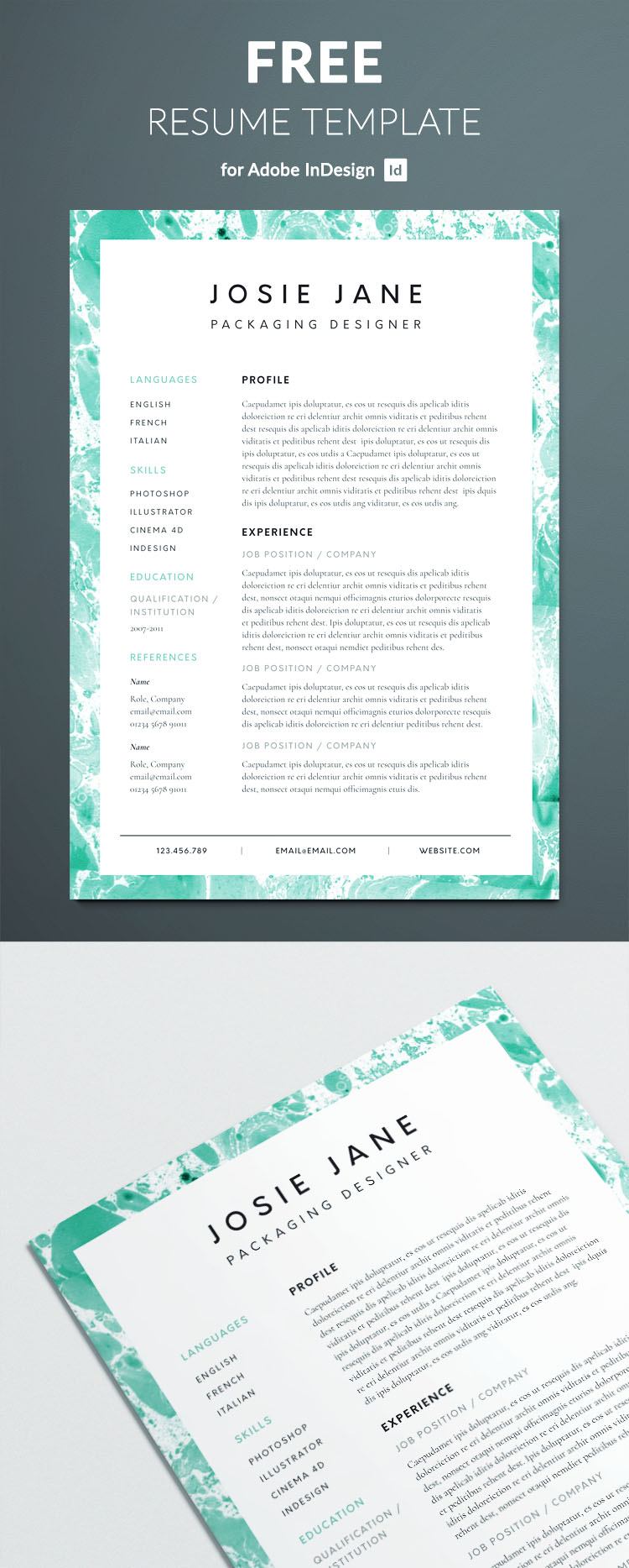 Creative resume template free indesign templates creative resume template for indesign perfect graphic design resume yelopaper Images