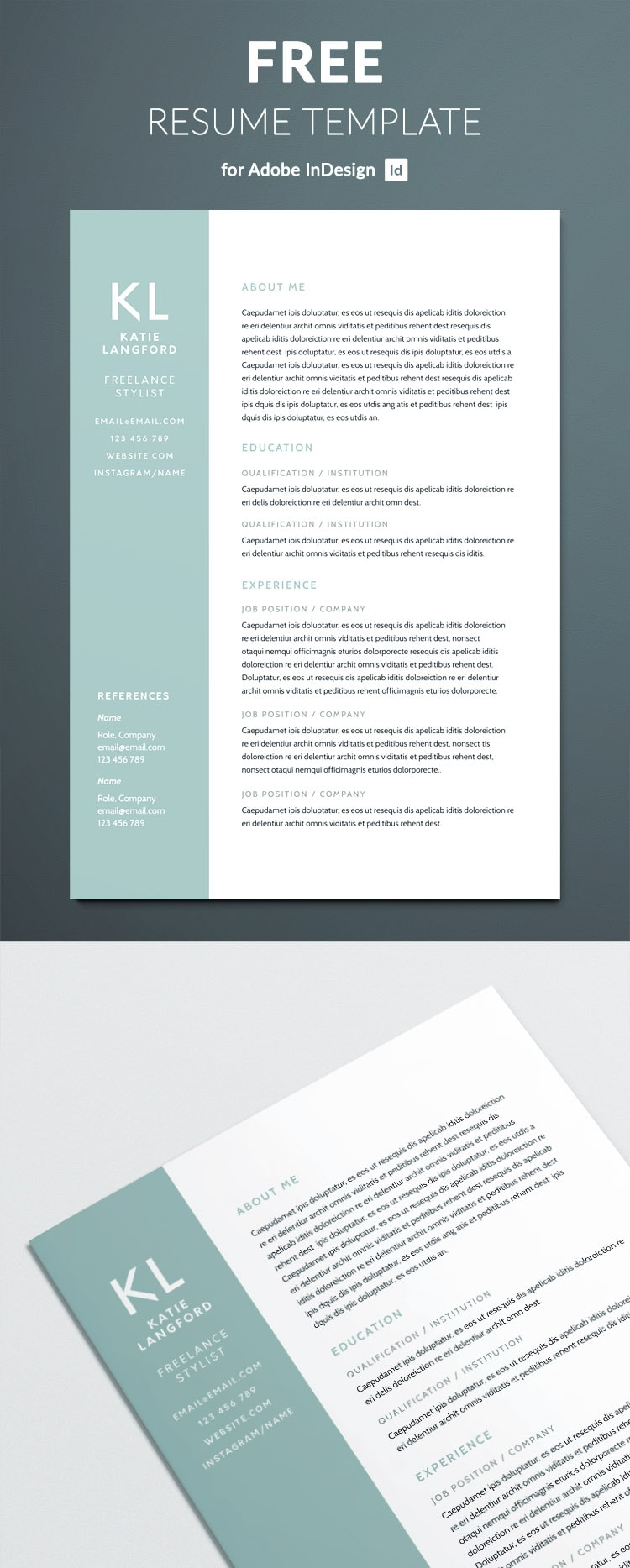 ... Free Modern Resume Template For Indesign   Free Indesign Templates