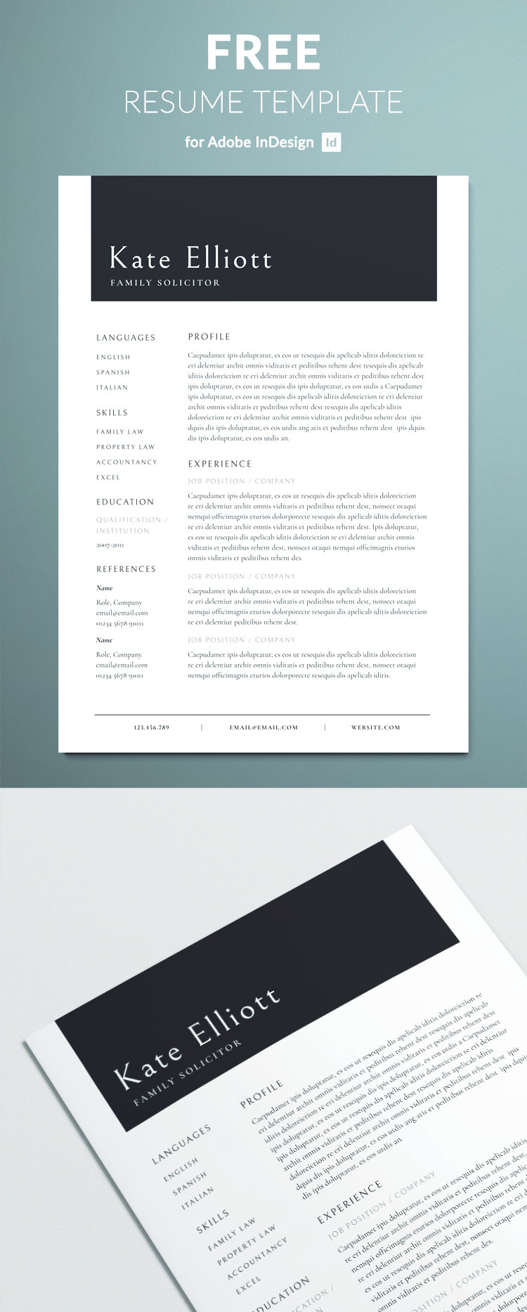 Professional resume template for InDesign - Free Download - Professionally created layout
