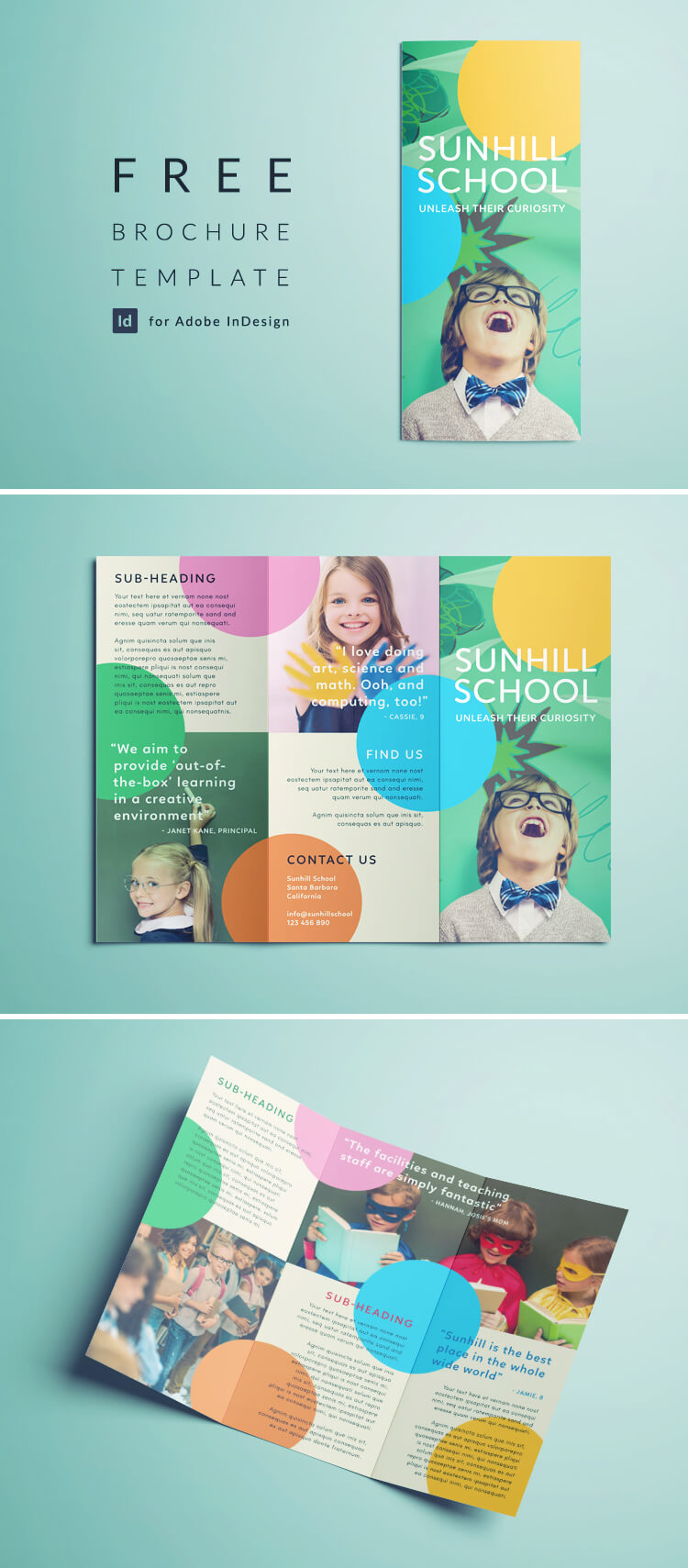 Free School Brochure Template - Tri-fold Colorful Brochure Template for InDesign - Free Download