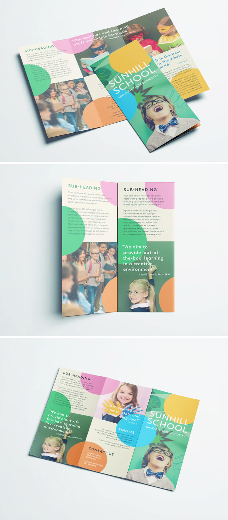 Tri-fold school kinder garden brochure template design - Cool InDesignn Brochure template