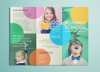 School Brochure - Free Brochure Template for InDesign - Colorful Design with Circles and Happy Kids