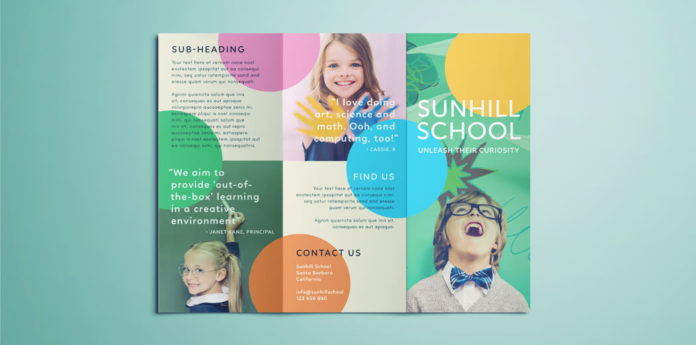 Colorful school brochure tri fold template download free for Tri fold school brochure template