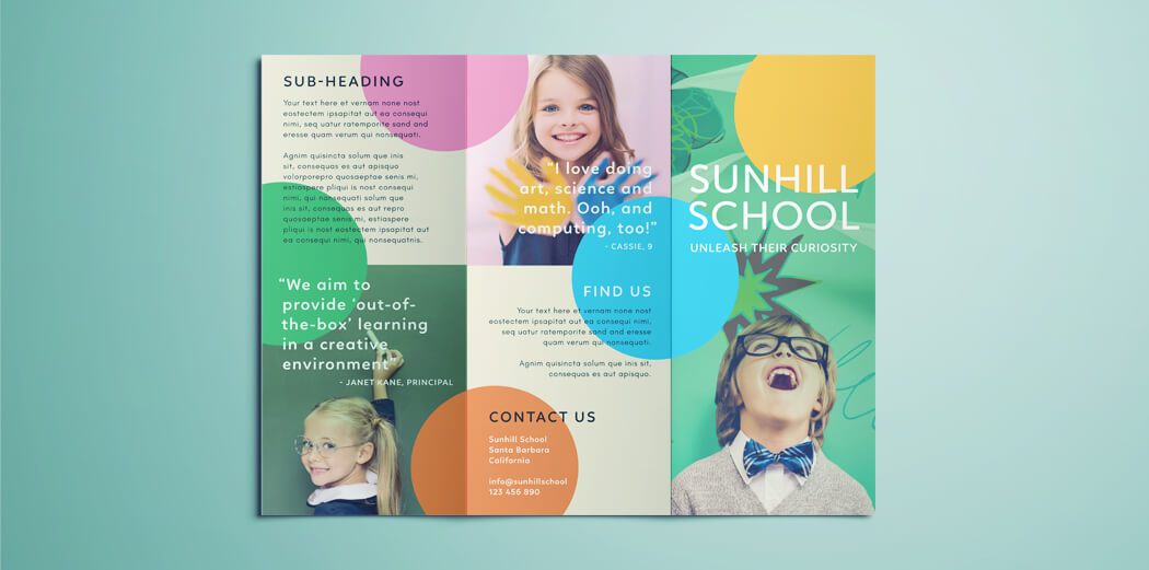 colorful school brochure tri fold template download free. Black Bedroom Furniture Sets. Home Design Ideas