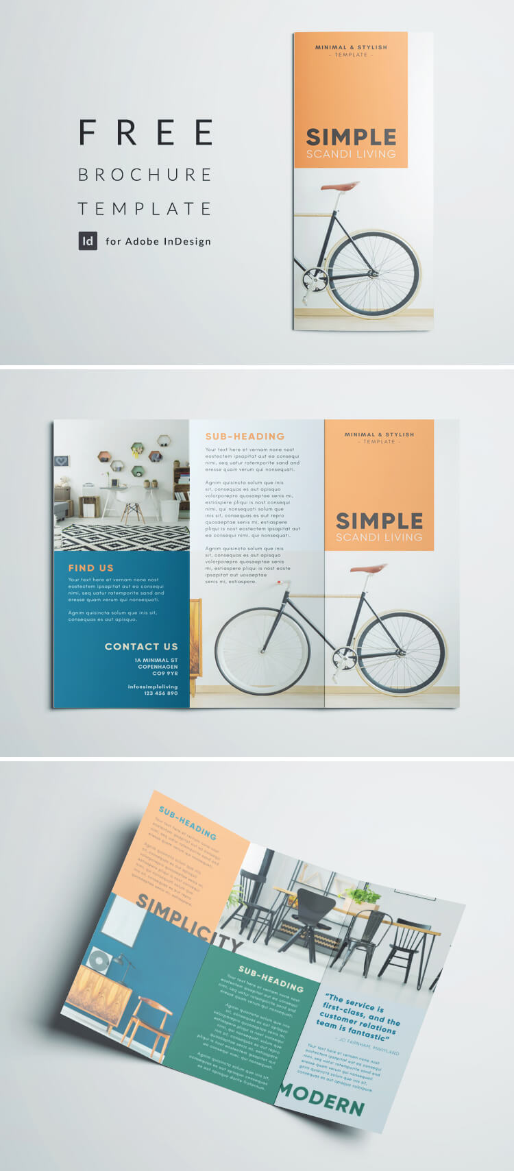 Simple tri fold brochure free indesign template for Brochure samples templates