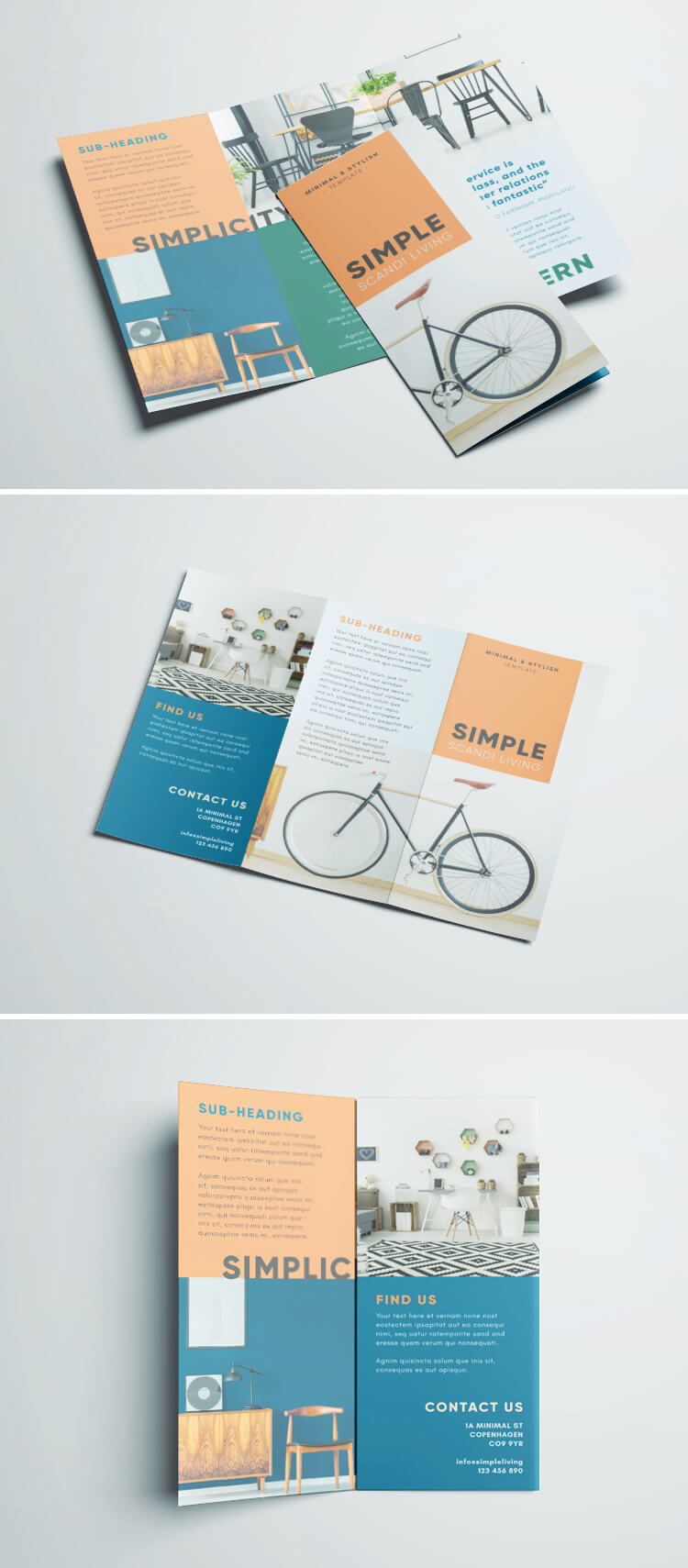 Simple tri fold brochure free indesign template for Foldable booklet template