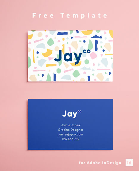 Free Business Card Template Terrazzo Effect Layout Design For Indesign