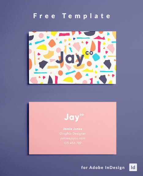 Indesign business card template free download free terrazzo business card template modern business card template graphic design colorful flashek Images