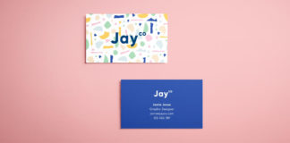 Free InDesign Business Card Template - Terrazzo Effect