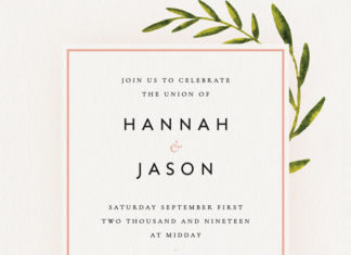 botanical rustic wedding invite indesign
