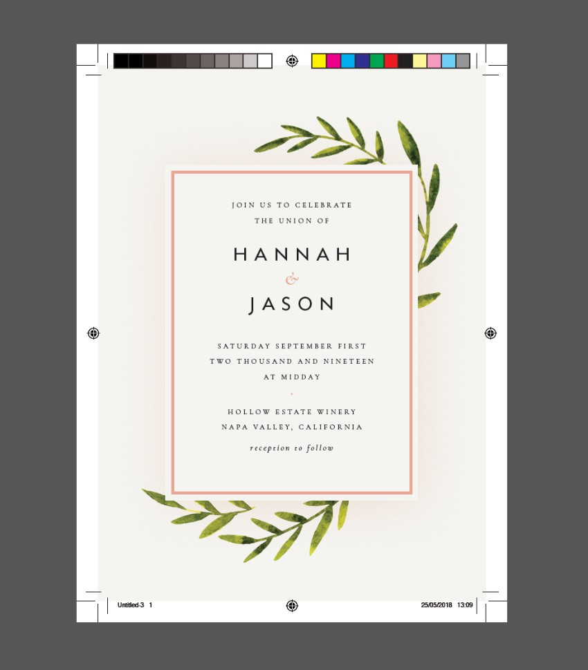 botanical rustic wedding invite indesign press ready pdf