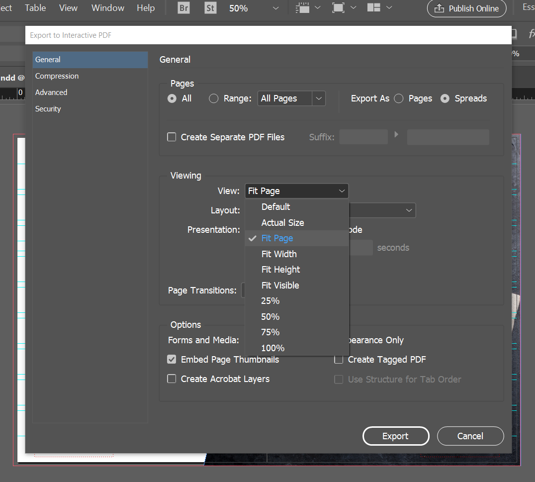export interactive pdf indesign online viewing default