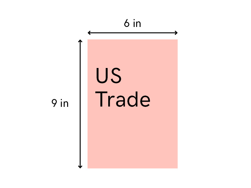 Standard book size self-publishing usa US trade fiction