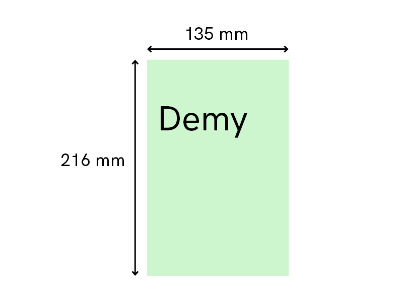 Standard book size self-publishing uk demy fiction