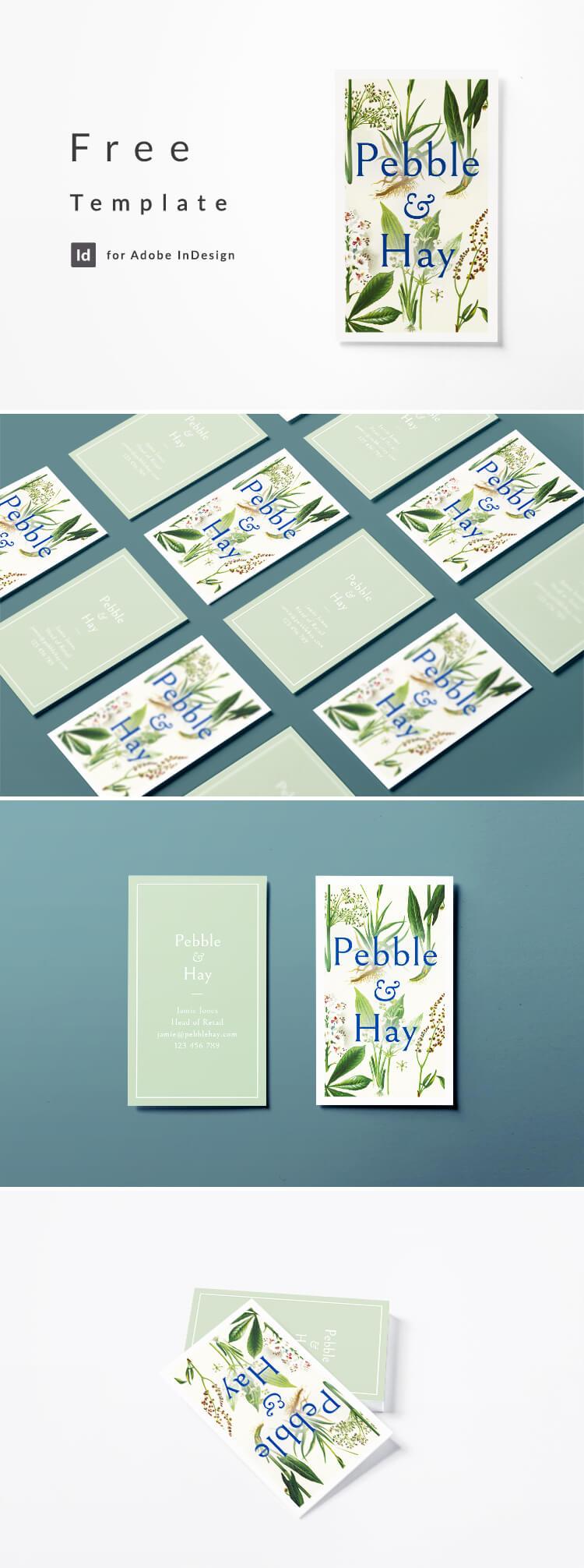 Vintage business card design with botanical illustration. Free download for Adobe InDesign CC.