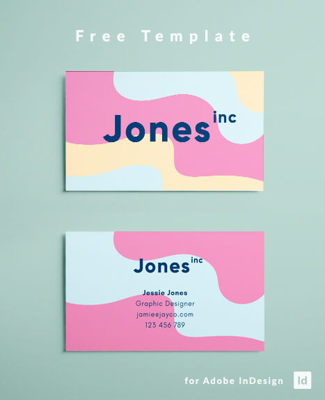 Pink, turquoise and yellow business card design layout. Abstract colorful design - adobe InDesign layout - free download.