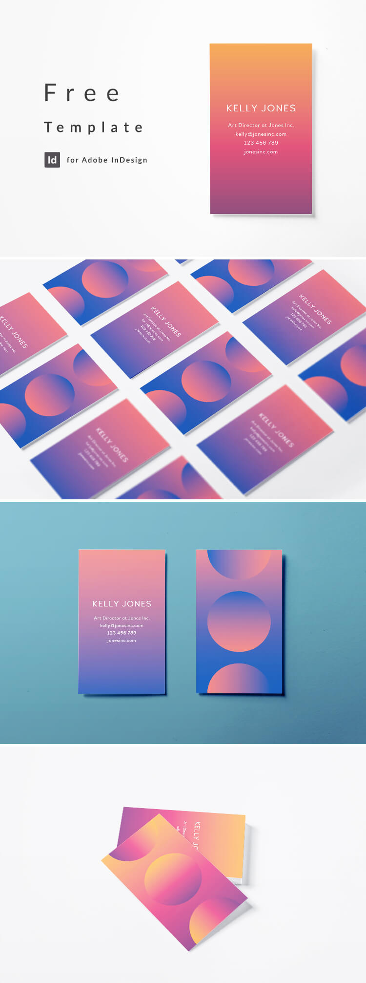 Free InDesign Business card template - 2 color options, modern creative layout. Free download for InDesign. Pink to blue gradient.