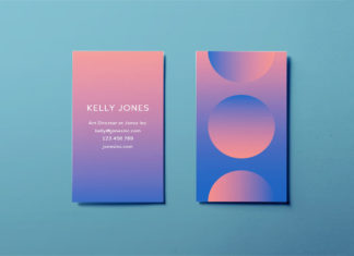 Free modern business card template - minimal modern gradient design for InDesign free download - pink to blue gradient