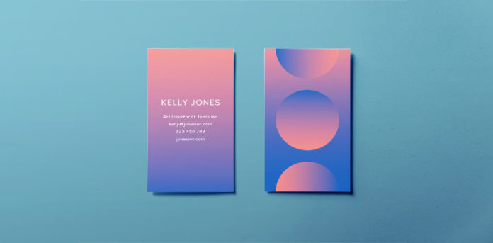 free modern business card template minimal modern gradient design for indesign free download pink