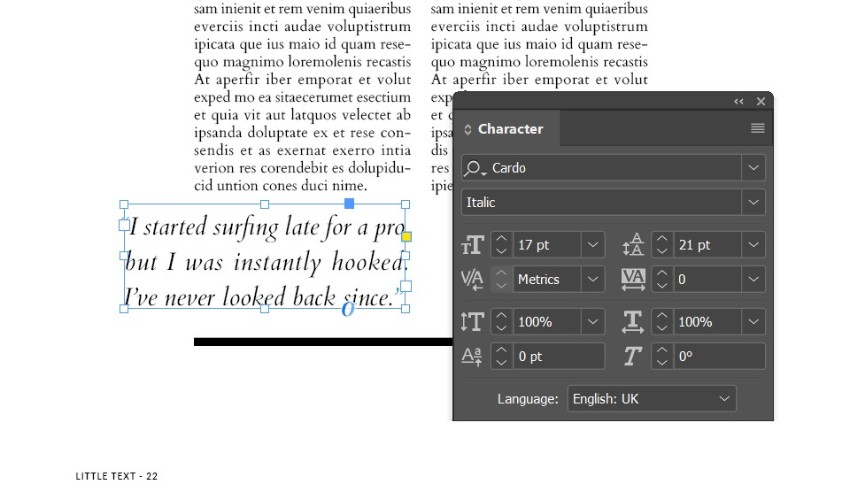 magazine pull quotes indesign cardo font
