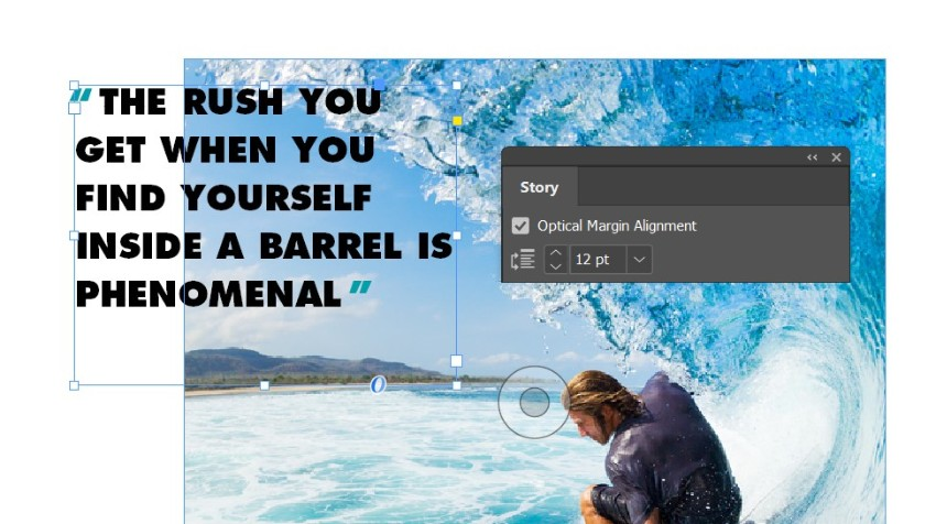 magazine pull quotes indesign optical margin alignment