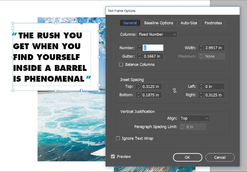 magazine pull quotes indesign text frame options inset spacing