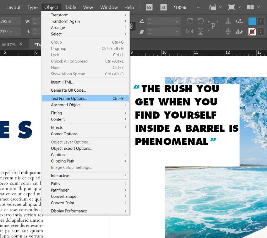 magazine pull quotes indesign text frame options