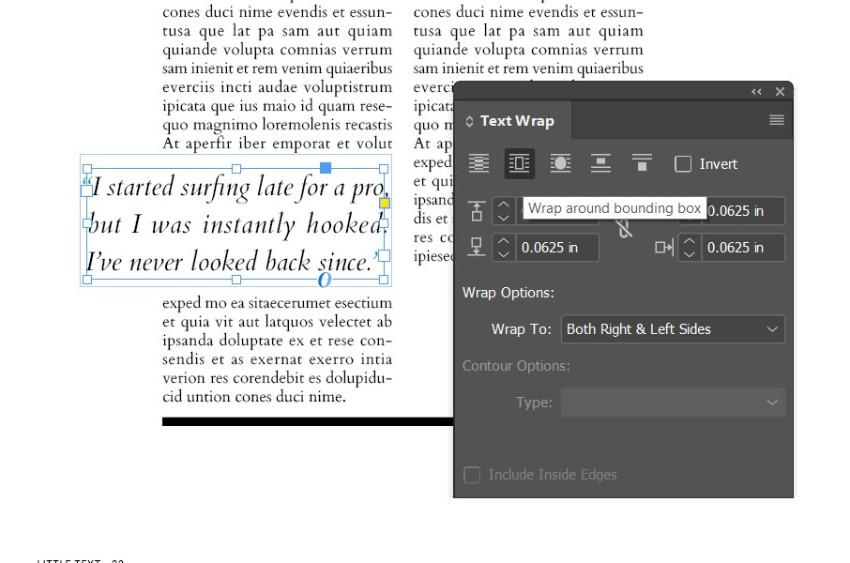 magazine pull quotes indesign text wrap