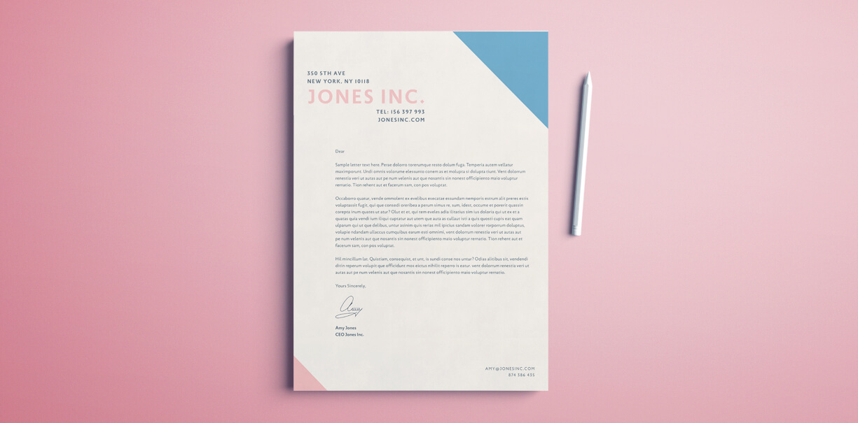 Creative letterhead free template for InDesign. Simple design layout for your creative business. Download this free template.