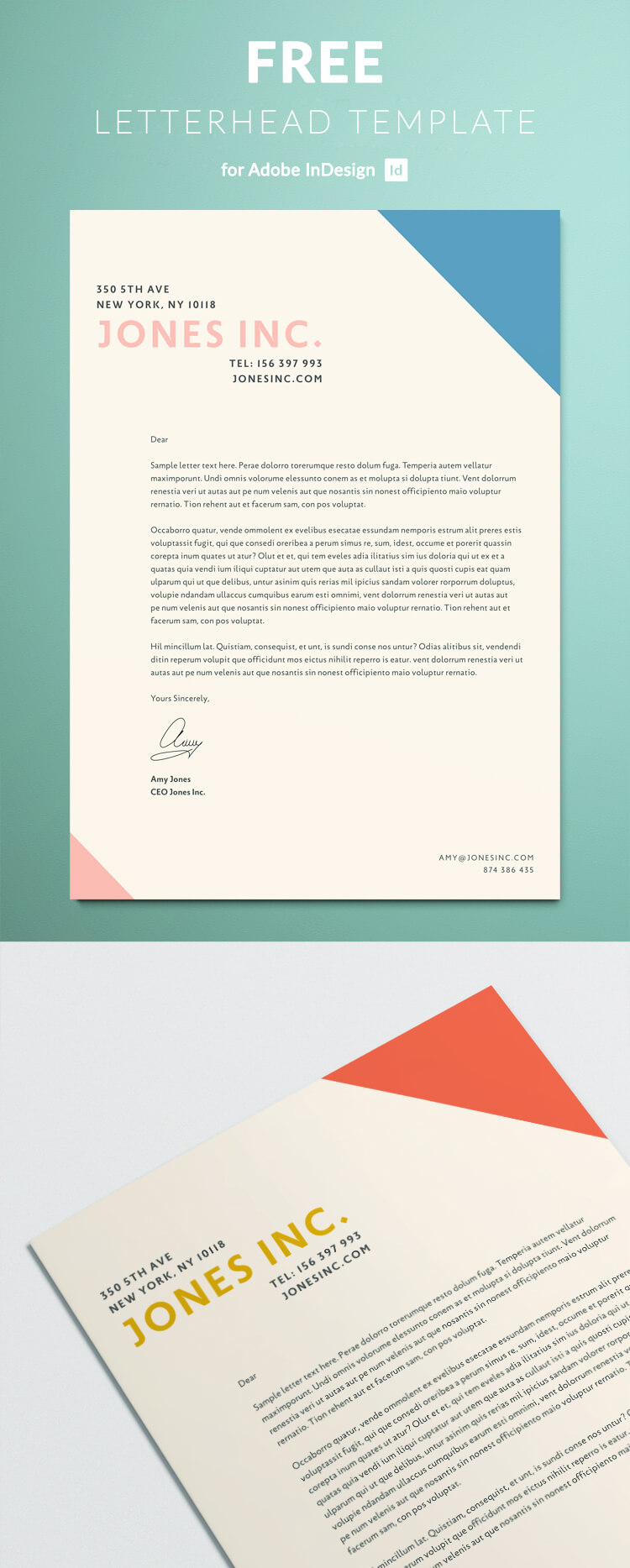 Simple modern letterhead design for a creative business. Download as a free letterhead template for Adobe InDesign.