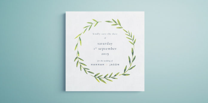 InDesign Save the Date Template - Free Printable / Downloadable with vintage botanical design.