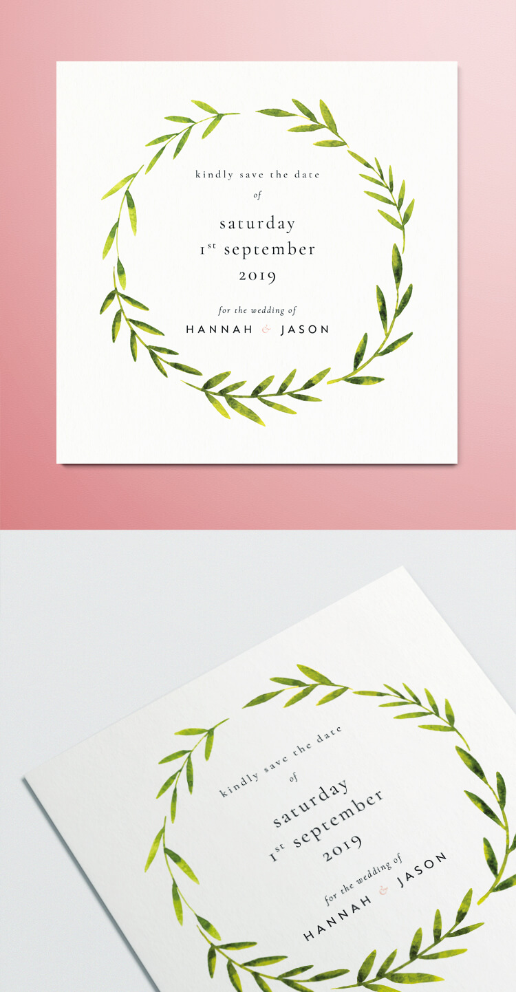 Free InDesign Save the Date Template - Modern watercolour design with vintage fonts.