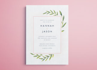 InDesign Wedding Invitation Template - Free printable for InDesign. Modern watercolour design with editable text.