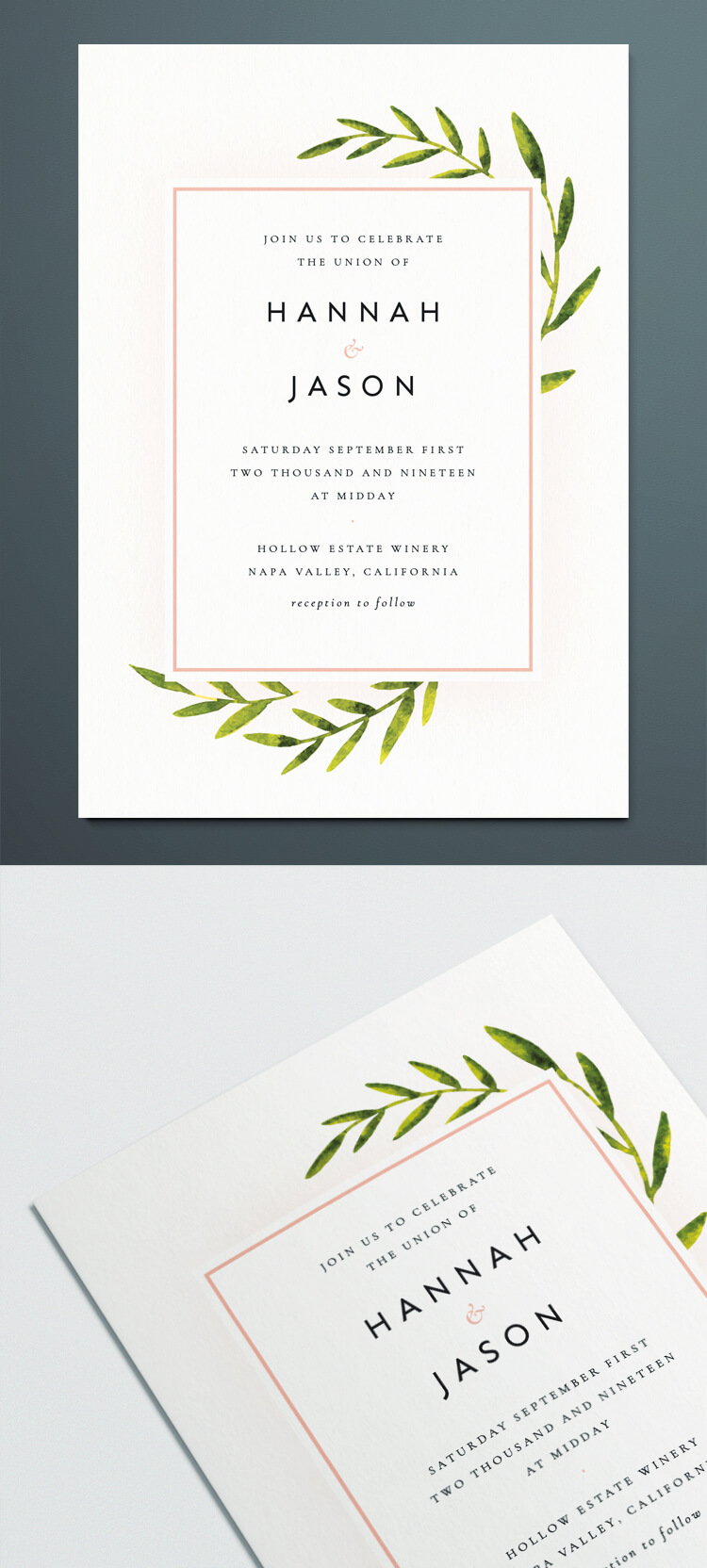 InDesign Wedding Invitation Template with Botanical vintage illustration. Free downloadable design for DIY wedding invite.