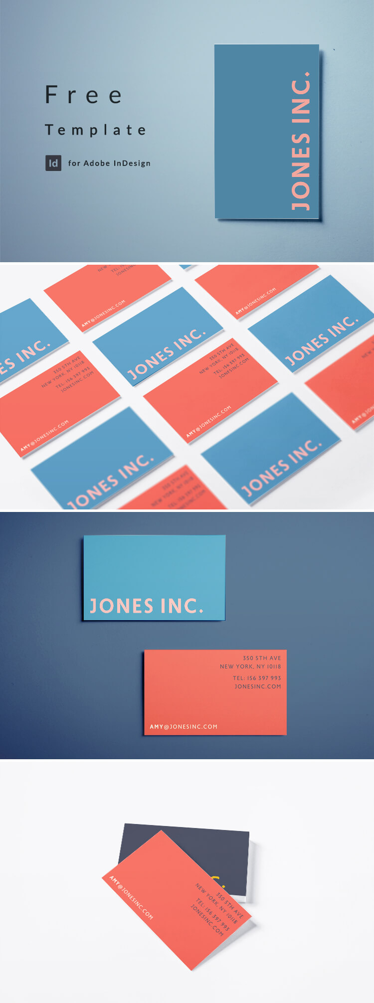 Free Business Card Template - Modern Minimal Business Card Design for InDesign