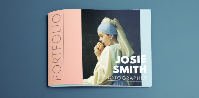 Portfolio template design for InDesign - free download including cover and 8 different page layouts.