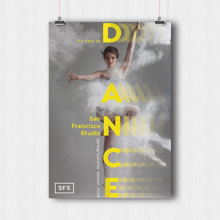InDesign Poster Template - free download. Simple graphic event poster with typographic layout.