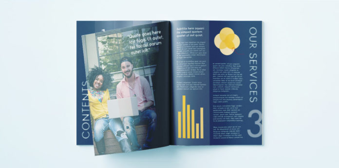 Corporate Report Brochure for InDesign - Free template for a professional Bi Fold brochure design for InDesign.
