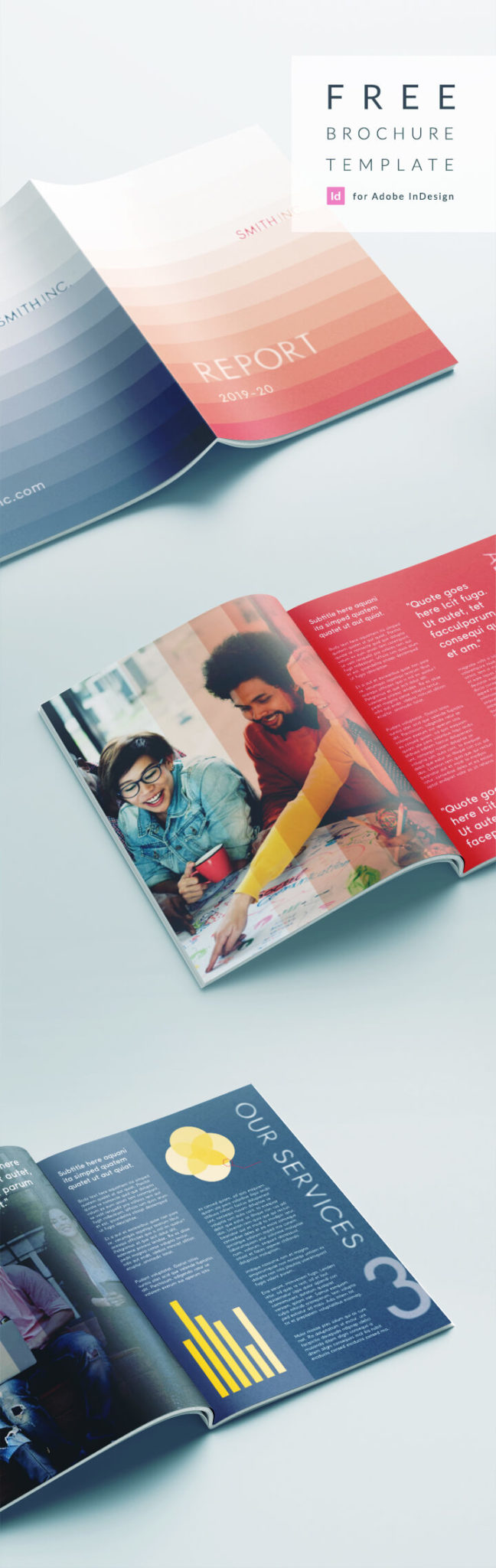 Free Bi Fold Brochure Template for InDesign - Smart Corporate Report Template for a Business Report of Company Profile.