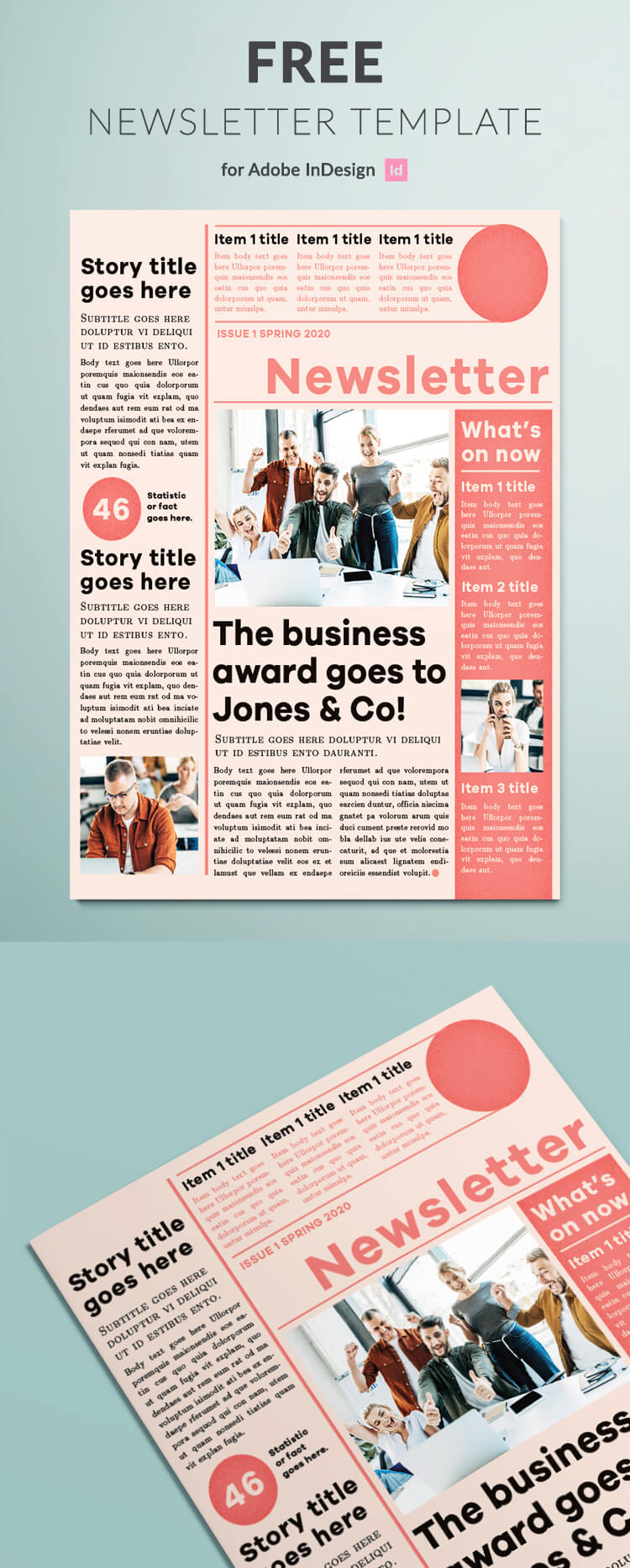 Free newsletter template for InDesign. Classic design for a business newsletter.