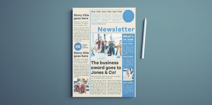 InDesign Newsletter Template - A free newsletter template design for InDesign. Modern layout with simple color scheme.