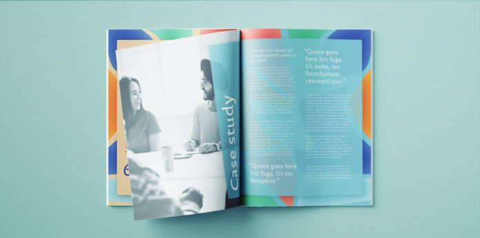 Free proposal template for InDesign. Colorful, modern proposal graphic design template, free to download for InDesign.