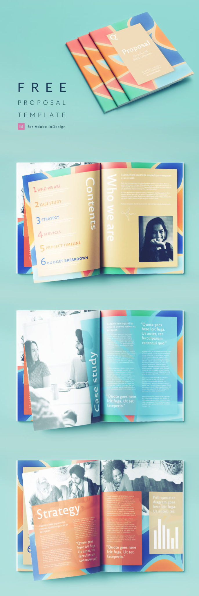 InDesign Proposal Template - Stylish, colorful InDesign proposal template, perfect for a creative or tech business. Free download.